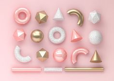 Set of render realistic primitives on pink background. Spheres, torus, tubes, cones and other geometric shapes in golden metallic and white colors for trendy designs. - Buy this stock illustration and explore similar illustrat 3d Shapes, Geometric Shapes, Stock Imagery, Collections Of Objects, Royalty Free Photos, White Colors, Primitives, Abstract, Illustration