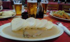 Sirloin steak with dumplings and Pilsen beer