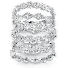 I love stackable rings!!! Ultimate CZ Silvertone Cubic Zirconia Stackable Eternity Rings (Set of 5) | Overstock.com Shopping - Big Discounts on Palm Beach Jewelry Cubic Zirconia
