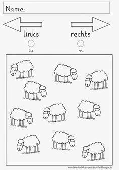 Left Right .- links – rechts … left – right More - Kindergarten Portfolio, Pre School, Preschool Activities, Kids Learning, Worksheets, Homeschool, Teaching, Education, Blog