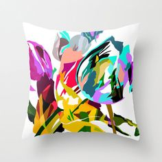 18x18 Pillow Cover, Bright Flower Pillow, Tulips, Decorative Throw Pillow Cover