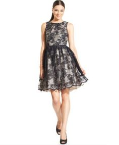 Jessica Howard Contrast Lace Belted Dress | macys.com