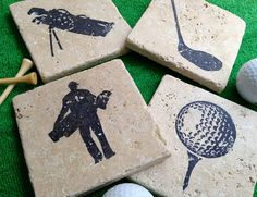 Golf Theme Natural Stone Coaster Set 4 Beer by DandWstonecrafts Gifts For Golfers, Golf Gifts, Beer Coasters, Stone Coasters, Thema Golf, Mens Golf Clubs, Golf Room, Golf Theme, Golf Club Sets