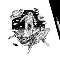 Whales and space. Fantasy and Surreal meet in Ink Drawings. Click the image, for more art by Thiago Bianchini. Ink Illustrations, Illustration Art, Tattoo Studio, Crows Drawing, Geometric Graphic, Whale Art, Murals Street Art, Pastel Art, Norse Tattoo