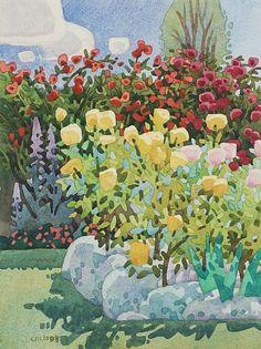 "Lemon Chiffon Roses by Carolyn Lord Watercolor ~ 15"" x 11"""