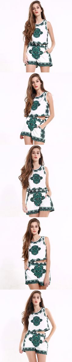 Europe 2017 Summer New Restore Ancient Ways Printing Shorts Suit Fashion Sleeveless Sexy Short vest Twinset