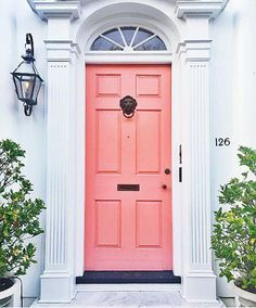 Bright peach front door color