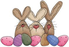 clipart imagem decoupage Three Bunnies