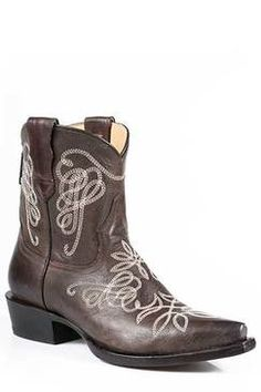 Stetson Women's Brown Adelle Short Snip Toe Cowgirl Boots