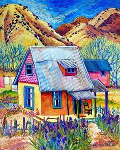 House of Iris/ Casa de Lidio by Sally Bartos, New Mexico artist. Her work is available from bartos on Etsy.