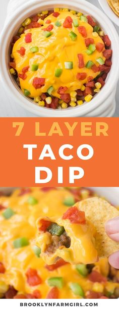 7 Layer Taco Dip is easy to make in 10 minutes with vegetables and cheese! This meatless Mexican dip is made without cream cheese for a healthy recipe.  Serve hot or cold as a party appetizer. #tacodip #healthy #dip #superbowl #appetizer #healthyrecipe #easyrecipe