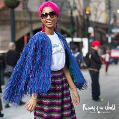 #Spotted for #FramesOfTheWorld in NYC: Stylist and creative director Ni'ma Ford masterfully pairs global influences. We call this latest movement the #ArtisanOdysseyTrend.