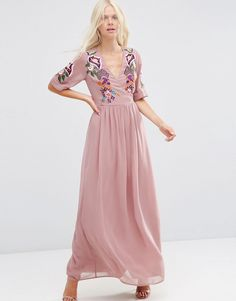 Image 1 ofASOS Premium Wrap Maxi Dress with Embroidered Peacock and Flower Detail