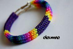 Purple Rainbow Native American Beaded Hoop Earrings