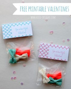 free printable valentine bow labels.  So cute!  Now all you need is to throw in a tube of Girlie Glue!  Perfect Valentine Gift for your little Girlie!  girlieglue.com