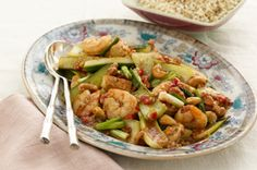 Hu Tong Stir-Fry with Chicken and Shrimp recipe