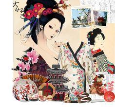 """""""The Kimono Dahlia blossom"""" by rainie-minnie ❤ liked on Polyvore"""