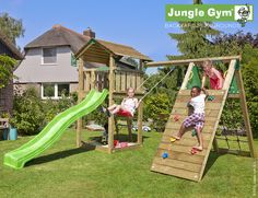 Jungle Gym Cottage legetårn med klatremodul og 1 gynge | Køb online på Føtex.dk