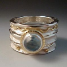 Round stacking rings Sterling Silver, 18k gold, topaz