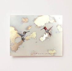 Hummingbird painting with gold leaf Gold Leaf Art, Gold Art, Texture Painting On Canvas, Painting & Drawing, Bild Gold, Hummingbird Painting, Feuille D'or, Painted Leaves, Paintings I Love