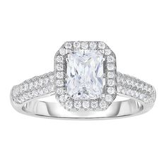 Rhodium Finish Shiny Square Top Ring with Cubic Zirconia