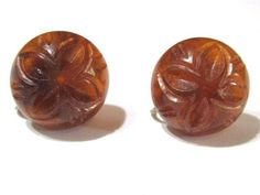 THESE ARE A CARVED FAUX AMBER COLOR, TEST POSITIVE WITH. SOME LIGHT SURFACE WEAR, LIGHT TARNISH ON THE BRASS. | eBay!