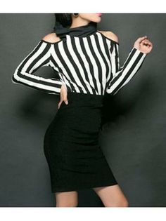 OL Style Cutout Shoulder Striped Patchwork High Waist Tight Dress