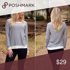 Size Medium Striped Cozy Top Super cute and cozy striped top. It's a stretchy fuzzy soft material and can be easily dressed up or down. Kristen is wearing the medium and it's a nice oversized fit on her! This is the actual item, not a stock photo Tops