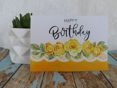 Handcrafted by Helen: Yellow Rose Border Card Altenew Cards, Floral Border, Card Tutorials, American Crafts, Card Maker, Card Tags, Yellow Roses, Flower Making, Greeting Cards Handmade