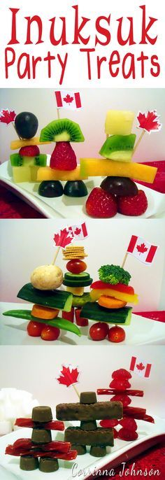 Edible Inukshuk Statues made with candy and an assortment of fruit, veggies, meat and cheese. Perfect for Canada Day parties and bbq's. Canada Day Party, Baby Snacks, Edible Crafts, O Canada, Meat And Cheese, Thinking Day, Easter Holidays, Party Treats, Summer Fun
