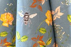 Flora and Fauna Blue linen furnishing fabric. Sold by the metre. Rachel Reynolds, Pattern Matching, Flora And Fauna, Lampshades, Home Accessories, Giclee Print, How To Draw Hands, Scarves, Fabrics