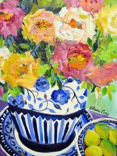 Delf Blue Vase Still Life Painting 18 x 24 by ElainesHeartsong