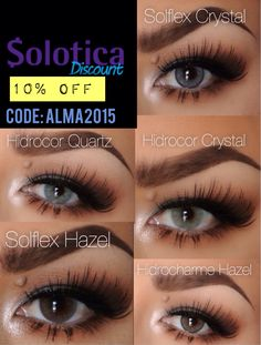 Get 10%OFF w/code: alma2015 #solotica Prescription Colored Contacts, Colored Eye Contacts, Sexy Eye Makeup, Face Makeup, Contact Lenses Tips, Natural Color Contacts, Solotica Lenses, Circle Lenses, Pretty Eyes