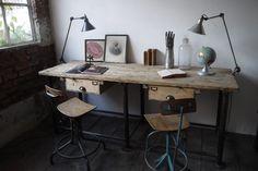 bureau industriel double poste de travail metal et bois - du côté du design