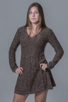 Vestido retilinea mescla marrom