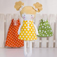 Items similar to Girl Doll Clothes Yellow White Dotted Cotton A-line back cut out mini sundress with flowers applique - Fit My 12 inch Fashion Dolls on Etsy Girl Doll Clothes, Girl Dolls, Diy Kits, Fashion Dolls, Gifts For Kids, Sewing Patterns, Applique, Dots, Yellow
