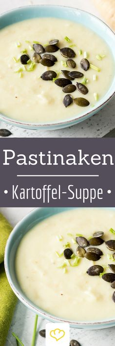 Cremige Pastinaken-Kartoffel-Suppe Heute gibt es Pastinake und Kartoffel vereint. Und zwar in einer cremigen Suppenköstlichkeit. Nicht einfach so, sondern von knusprigem Speck getoppt.