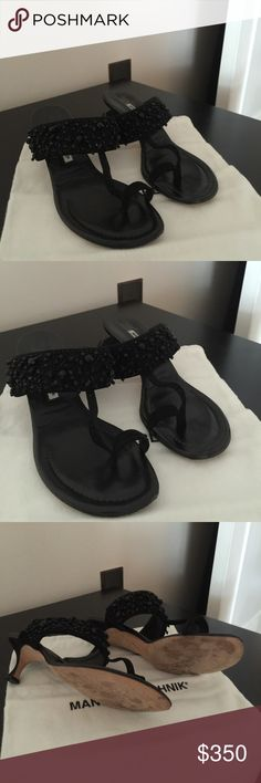 Manolo Blahnik black beaded sandal. Gently used, Manolo Blahnik black jeweled/ beaded Gisba kitten heel sandal.  Heel and toe strap made of black suede. Insole is black leather.  Strap across foot has beautiful bead work.  Size 39.  I have the dust bag.  Retail was $1095.00 Manolo Blahnik Shoes Sandals