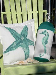 "Knobby sea star outdoor pillow starfish 20"" aqua teal coastal beach ocean saltwater seashore beach echinoderm Crabby Chris Original"