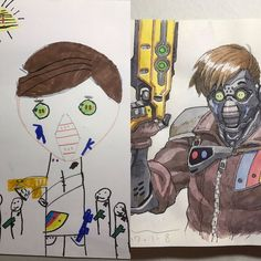A gallery of the work of French animator Thomas Romain who converts his kids' drawings into awesome anime characters. Anime Dad, Doodle Coloring, Awesome Anime, French Artists, Father And Son, Anime Style, Anime Characters, Cool Art, Character Art