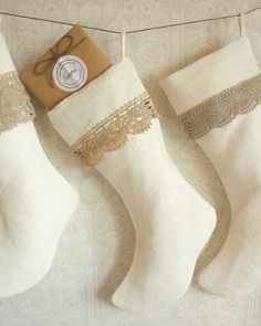 linen and lace christmas stocking white and ecru by Tuuni on Etsy