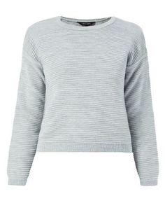Grey Ribbed Knit Jumper | 321382004 | New Look