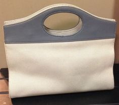 #Fossil #Handbag #Woven #Cotton With #Blue #Leather #Trim