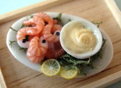 Amazing Shrimp and Mayonnaise Miniature Food | The attention to detail is spectacular. The foods truly looks edible.