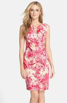 Adrianna Papell Floral Print Cotton Side Pleated Sheath Dress (Regular & Petite) available at #Nordstrom