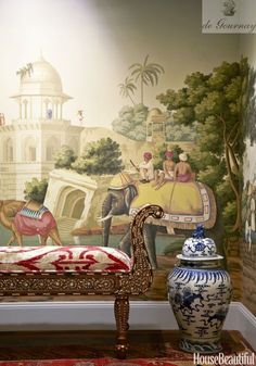 de Gournay Early Views Of India wallpaper #papierspeintspanoramiques