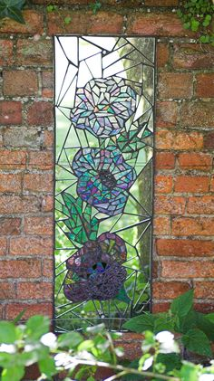 Blue Poppies | Mosaic garden mirror (31 x 92cm / 1' x 3'). D… | Flickr