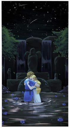 """bonesbunns: """"After Zelda starts crying at the Spring of Power, Link turns to her before his memory fades. I hope he comforted her in that moment """""""