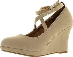 Top Moda Eva11 Womens round toe platform wedge crossing buckled ankle strap suede shoes Beige 85 * Click the VISIT button to view the details