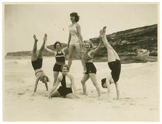 vintage everyday: Vintage Photos of Acrobatics on Bondi Beach, Australia, ca. Theatre Royal chorus, Tamarama Beach, ca. 1938 / by Sam Hood Barbados Beaches, Barbados Travel, Guatemala Beaches, Beach Fun, Beach Trip, Summer Beach, Summer Fun, Lake Beach, Beach Girls